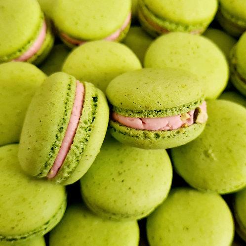 Pistachio and Strawberry Macarons