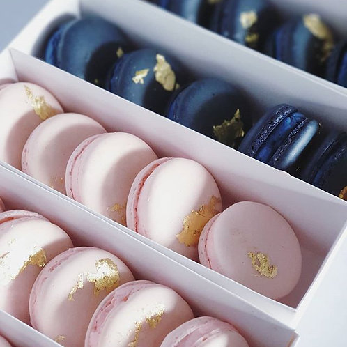 Box of Ten Custom Macarons with Gold Leaf