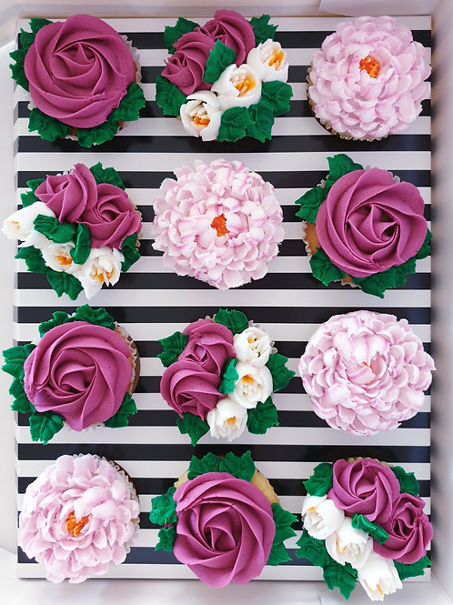 Floral Hand-piped Cupcakes Gift 12 Pack