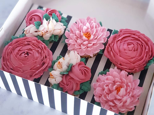 Floral Hand-piped Cupcakes Gift 6 Pack