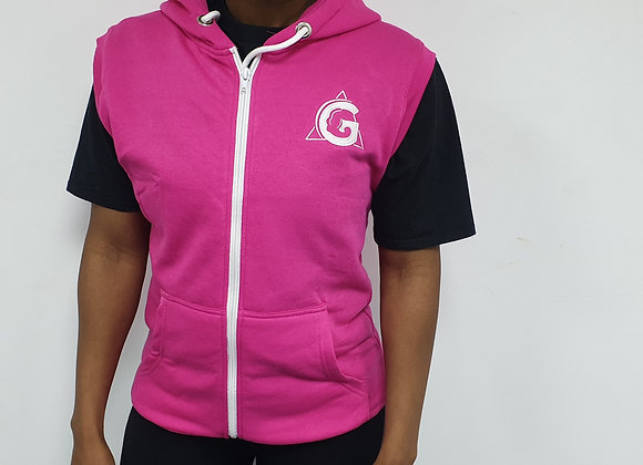 Ladies Embroidered Sleeveless Zip Up