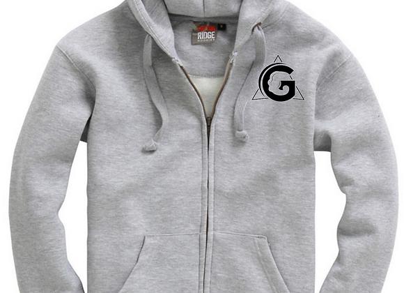 Sports Grey Zip Up Hoodie