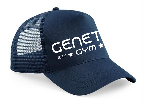 Navy Blue Embroidered Trucker Cap
