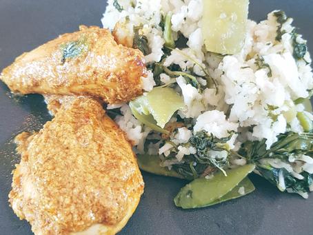 Cuisine express avec des légumes surgelés: poulet au curry et au yaourt