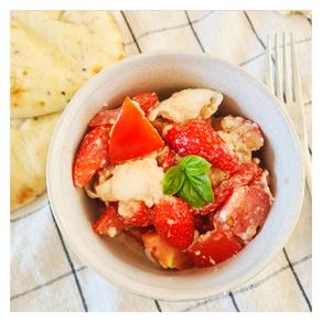 Salade tomates, fraises et mozzarella
