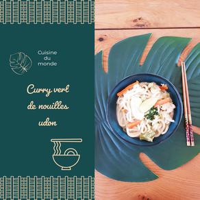 Curry vert de nouilles udon au poulet