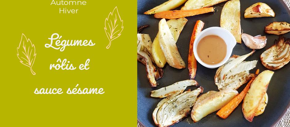 Légumes rôtis et sauce au sésame