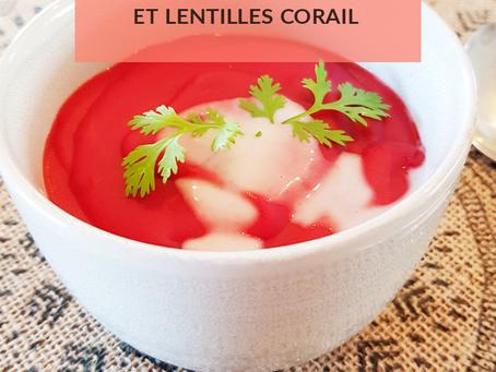 Crème de betteraves et lentilles corail