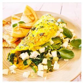 Omelette verte fêta-épinards