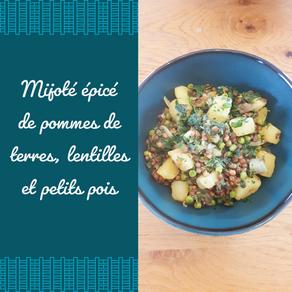 Mijoté épicé de pommes de terre, lentilles et petits pois