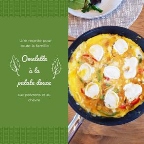 Omelette aux patates douces, poivrons et chèvre