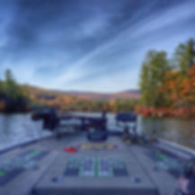 Bass boat on a lake