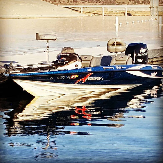 bass boat on lake