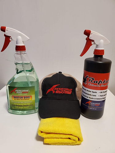 Peregrine 250 hat kit, includes Water Dog, Raptor and a Microfiber cloth