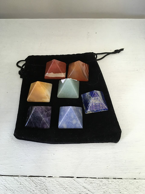 Chakra Stone Pyramid Set
