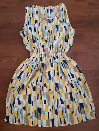 Blue & Yellow Pattern Dress (Size M)