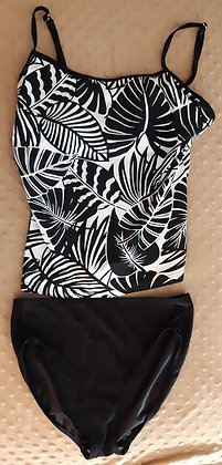 Palm Leaf Black 2 piece Bathing Suit (Size M)