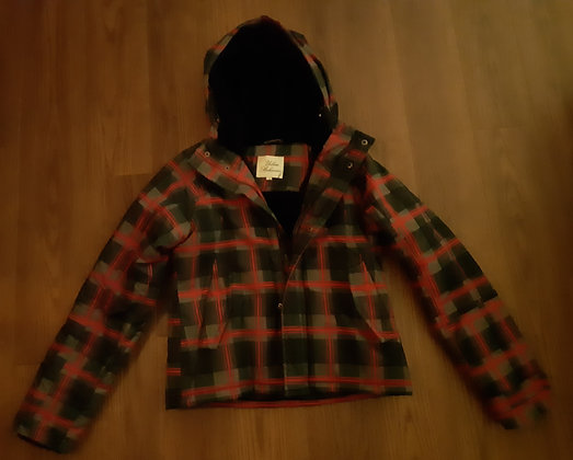 Red & Black Plaid Winter Coat (Size S)
