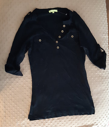 Black V-Neck 3-4 Length (Size M)