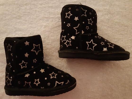 Teeny Toes Boots Black w/ Stars