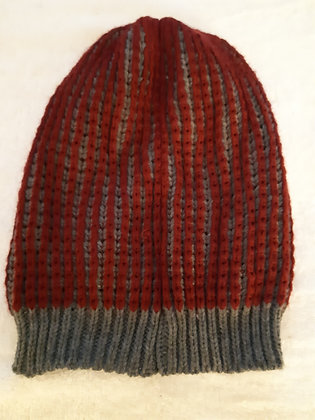 Red and Grey Hat and Scarf Set