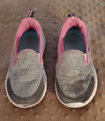 Grey & Pink Slip Ons