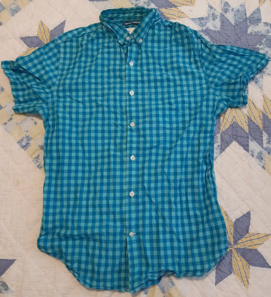 Old Navy Teal Checkered - Size L