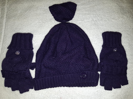 Purple Hat, Fingerless Mitten & Scarf Set