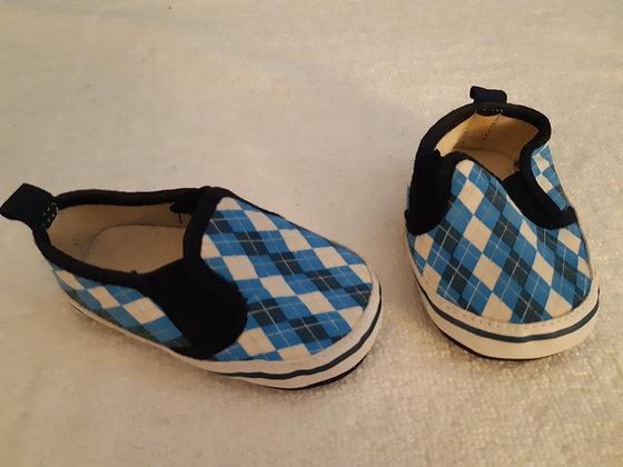 Blue Checkered Slip Ons