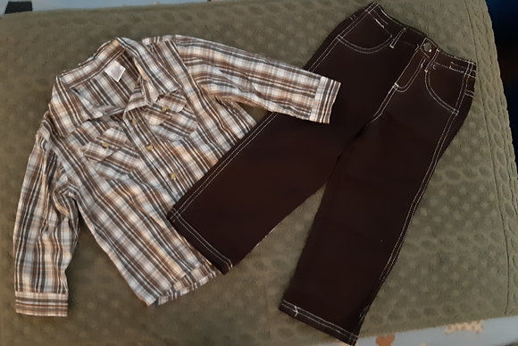 Plaid Shirt & Brown Cotton