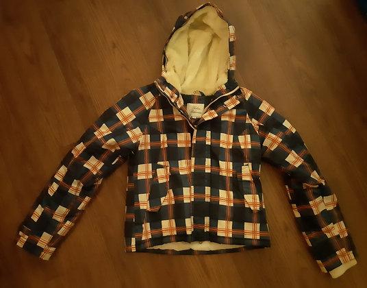 Blue & Orange Plaid Winter Coat (Size S)