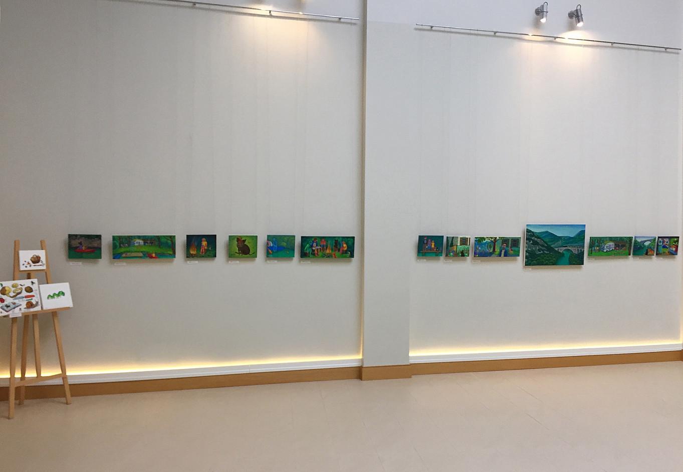 """""""Gleznas grāmatai Glābējcūka"""" Ādažu kultūras centrs, Latvija. """"Painting for book Glābējcūka"""", Adazi Cultural Center, Latvia. 2018."""