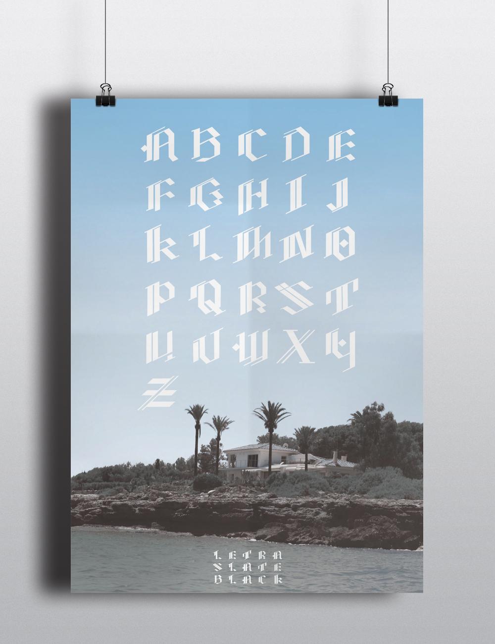 Letra Slate Black Poster