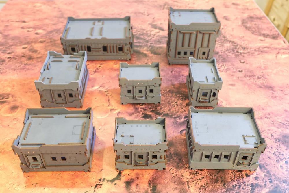 Eight hab blocks of varying sizes.