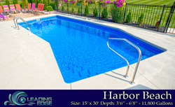Harbor Beach In Ground Fiberglass pool with cement deck
