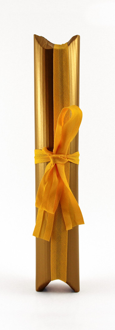 Tulip liqueur packing, gold corrugated card with yellow ribbon