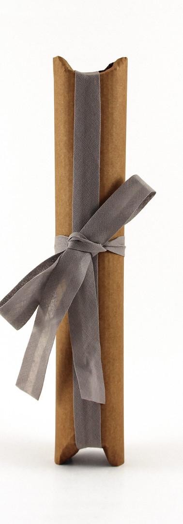 Tulip liqueur packing, natural corrugated card with grey ribbon