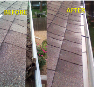 Before and after image of gutter cleaning in Golden, CO.