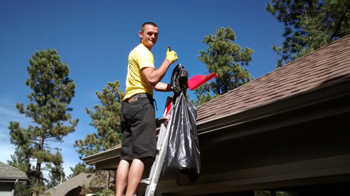 Golden gutter cleaning services by A Brighter Day Window Cleaning.