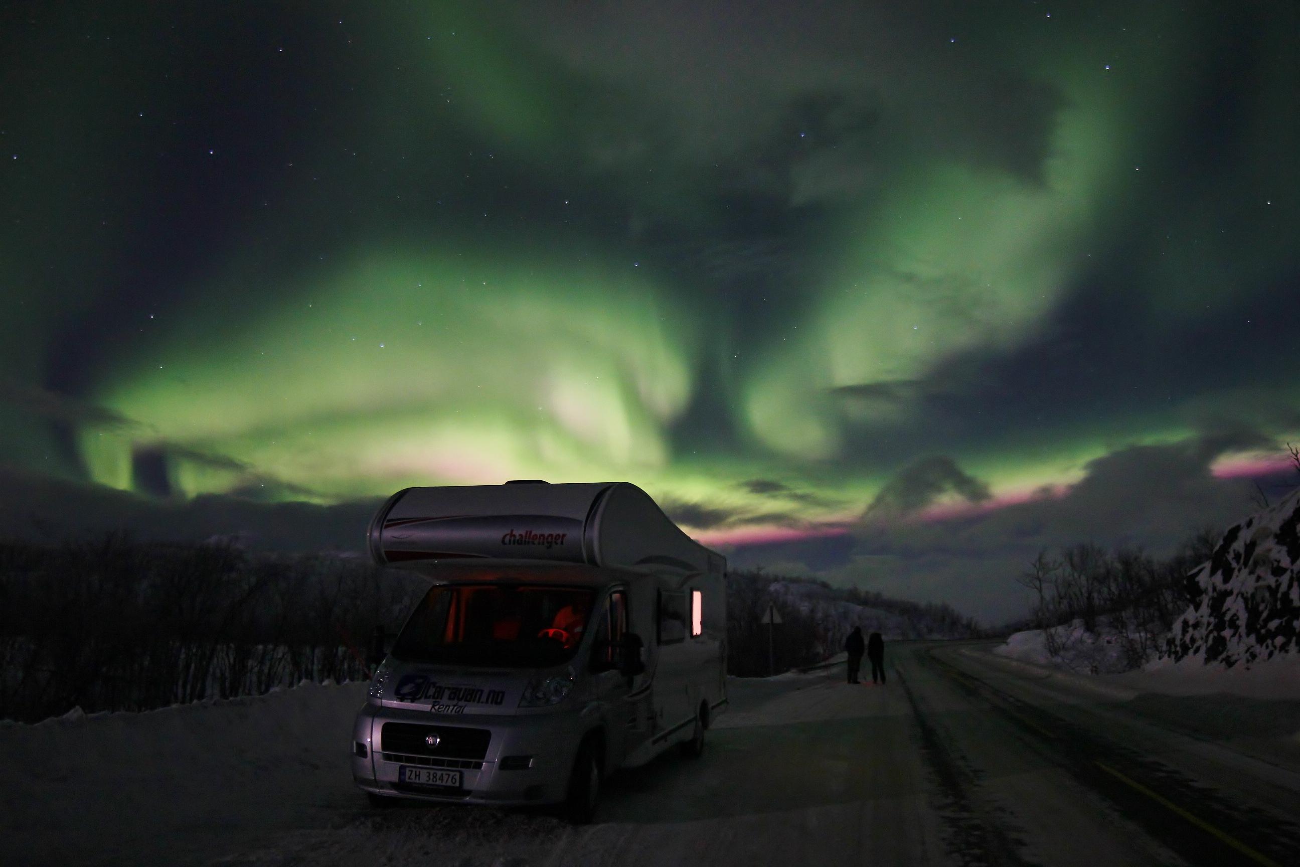 Nordlysbilder fra bobiltur