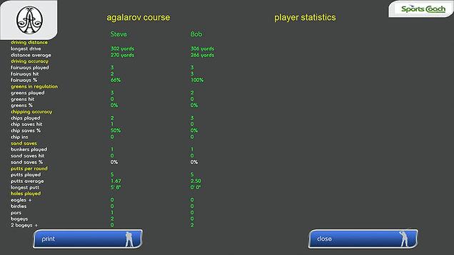 GPS Golf Simulator Statistics