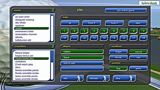 GPS Golf Simulator Customise Players