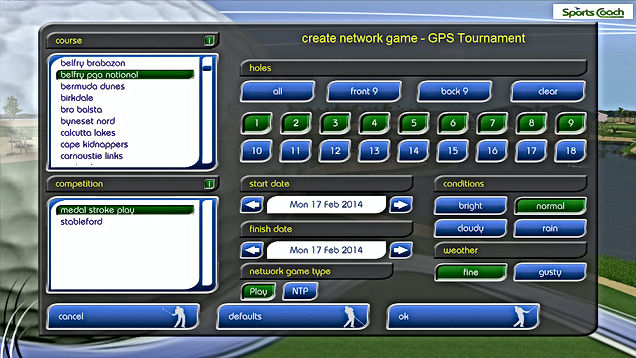 GPS Golf Simulator Network Tournament