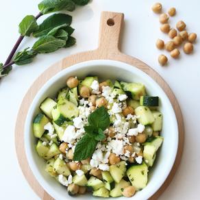 Salade de pois chiches et courgettes à la menthe