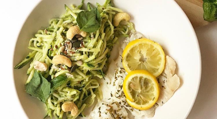 Spaghettis de courgette au basilic