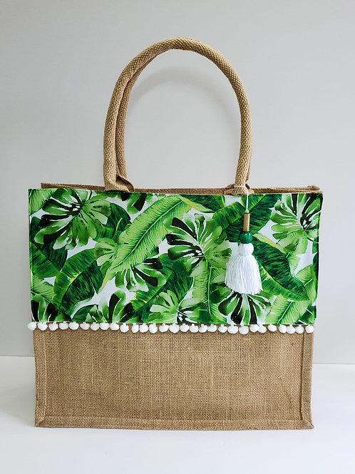Tropical Leaf Tropical Beach Bag - Medium