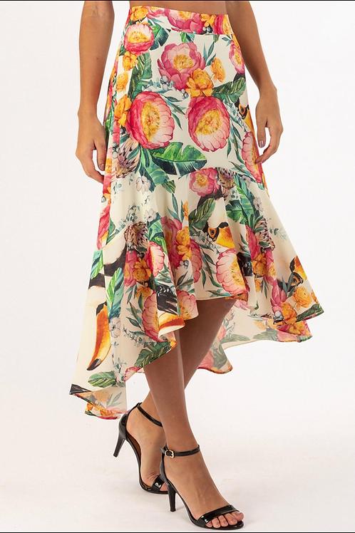 High-Low Skirt - Tucan Print