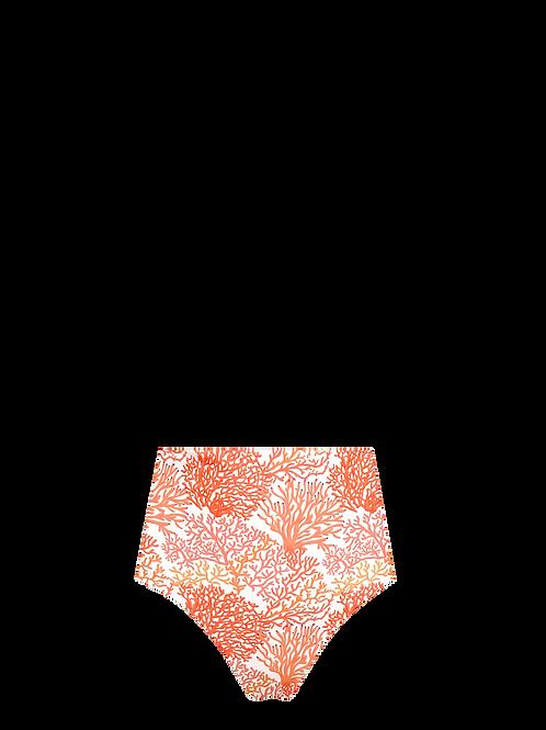 High Waist Bikini Bottom - Coral/Aqua & Coral Dots
