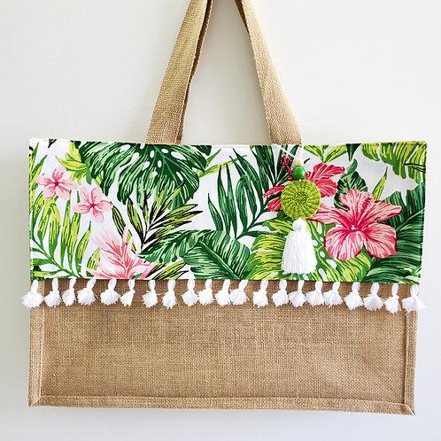 Hibiscus White Tropical Beach Bag - Large