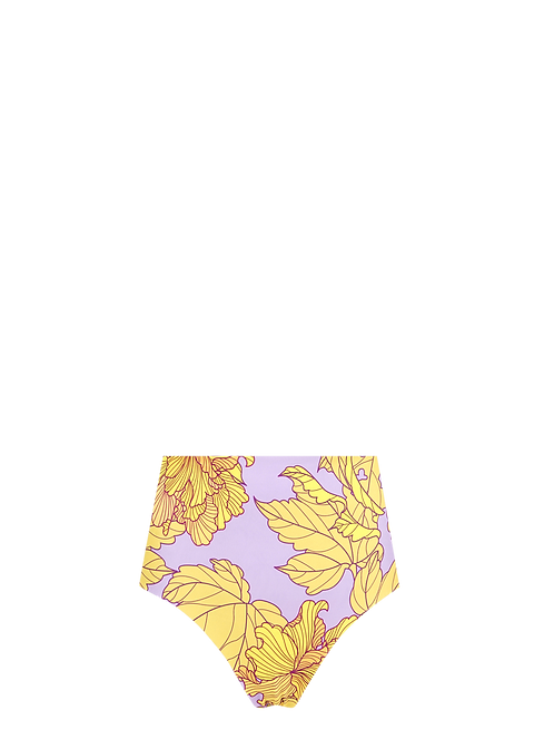 High Waist Bikini Bottom - Hibiscus/Lilac Palms